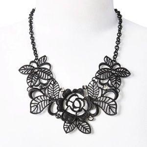 Black Floral Statement Necklace